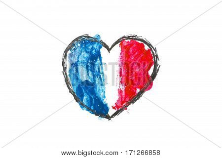 Tragedy in Nice France. Heart painted in watercolor. Pray for Nice.