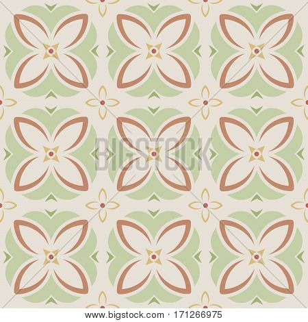 Abstract geometric floral seamless pattern with repeating texture
