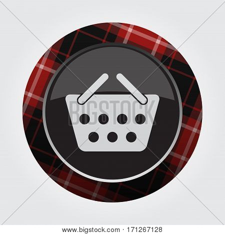 black isolated button with red black and white tartan pattern on the border - light gray shopping basket icon in front of a gray background