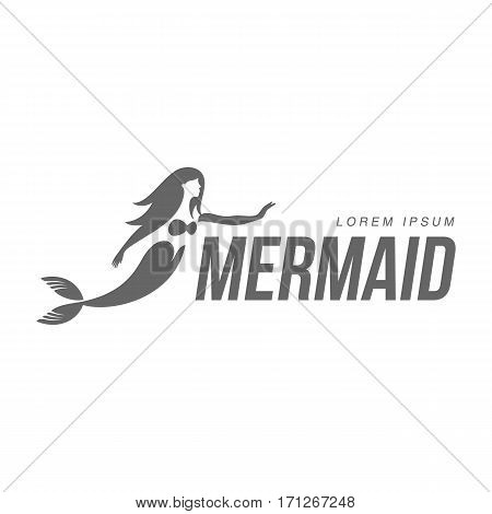 Stylized black and white graphic logo template with long haired mermaid turned profile, vector illustration isolated on white background.