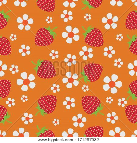 Flowers and strawberries on orange background. Natural product. Seamless pattern on a dark green background. The farmers market, chefs, cooks.