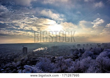 the beautiful top view on the city of Pyatigorsk, a decline, the evening sky in clouds