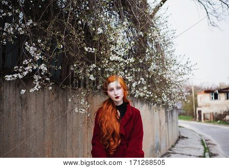 Blue-eyed red-haired girl in the street. Natural krasovta. Bright unusual appearance. Red coat. Spring Nature. Blooming trees.