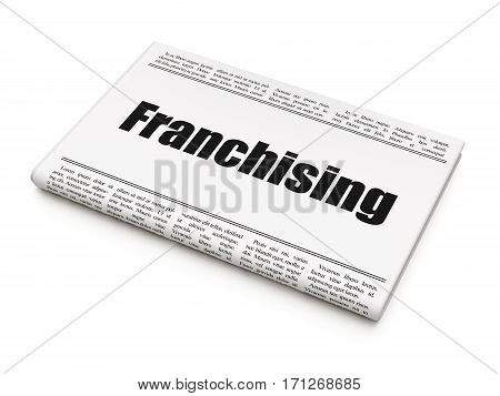 Finance concept: newspaper headline Franchising on White background, 3D rendering
