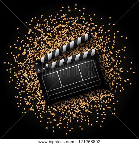 Clapboard icon over golden dots and black background. colorful design. vector illustration