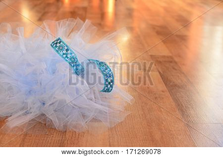 Light blue tutu on a wood floor