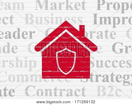 Finance concept: Painted red Home icon on White Brick wall background with  Tag Cloud