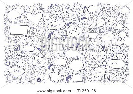 Hand drawn vector illustration. Set of speech bubbles and others doddle elements.