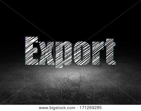 Finance concept: Glowing text Export in grunge dark room with Dirty Floor, black background