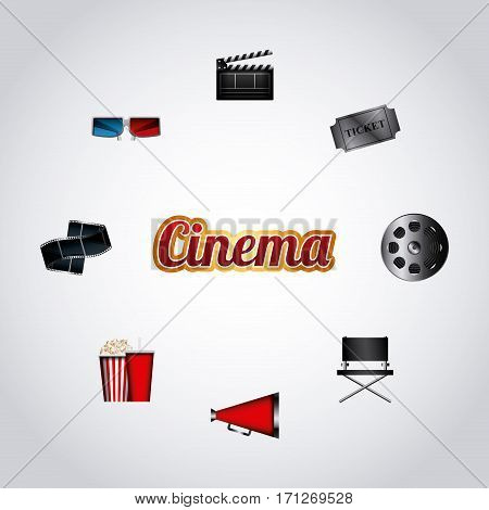cinema related icons around over white background. colorful design. vector illustration