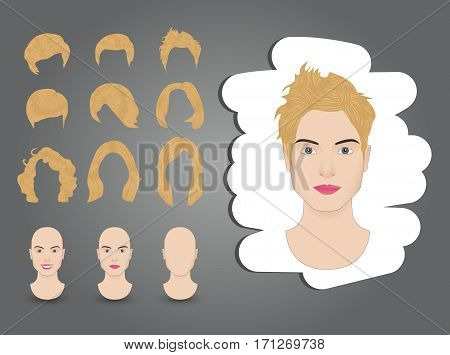 vector illustration hairstyles for women set blond