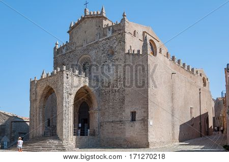 View of the Main Cathedral of Erice, province of Trapani in Sicily, Italy.