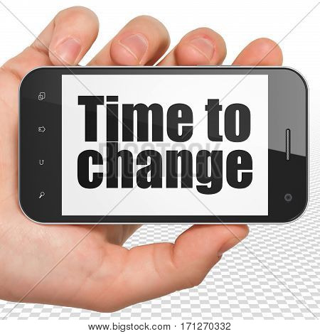 Time concept: Hand Holding Smartphone with black text Time to Change on display, 3D rendering