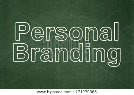 Advertising concept: text Personal Branding on Green chalkboard background