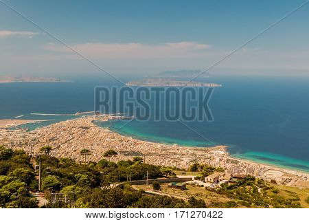 View from the Erice hill at the coast and city of Trapani in Sicily, Italy.