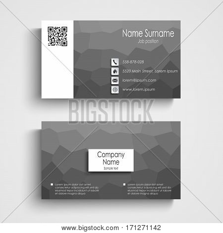 Business card with white black poly flow pattern vector eps 10