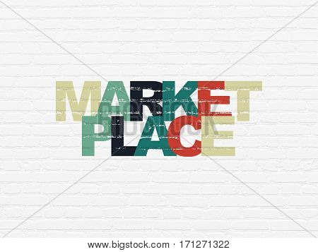 Marketing concept: Painted multicolor text Marketplace on White Brick wall background