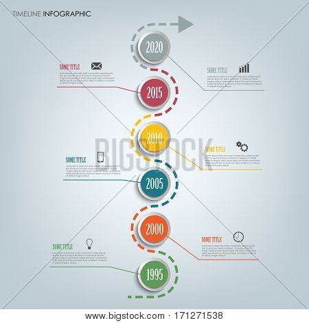 Time line info graphic with round pointers in one row vector eps 10