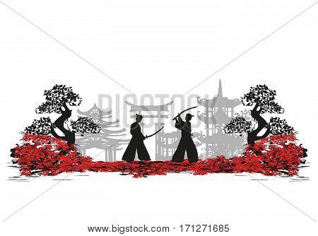 Japanese Samurai fighters silhouette card , vector illustration