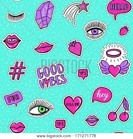 Vector Seamless Pattern With Fashion Fun Patches: Eyes, Lip, Star, Strawberry, Cherry, Crystal, Good