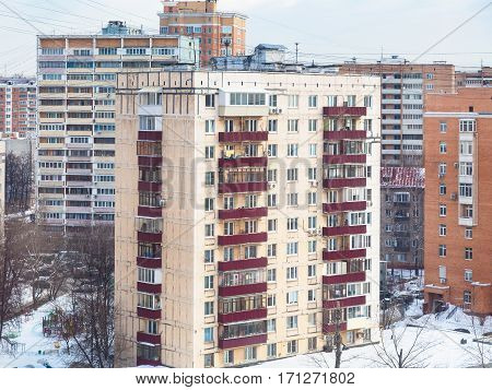 Apartment House In Residential Quarter In Winter