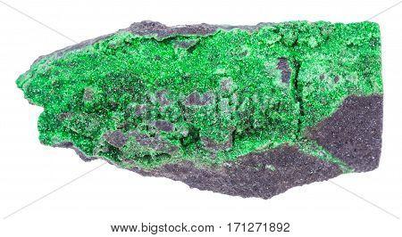 Druse Of Uvarovite Crystals On Stone Isolated