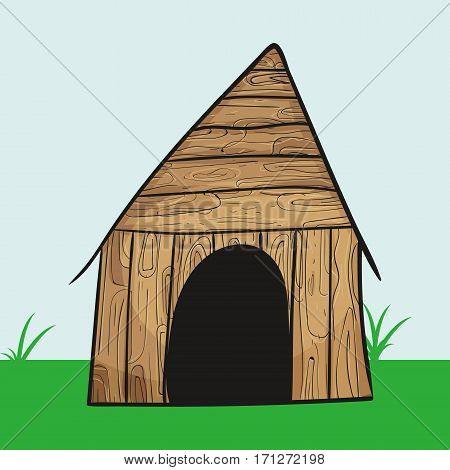 dog house icon Vector Illustration texture wood