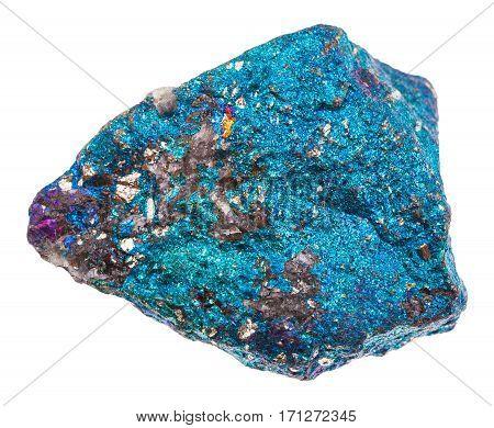 Raw Blue Chalcopyrite Stone Isolated