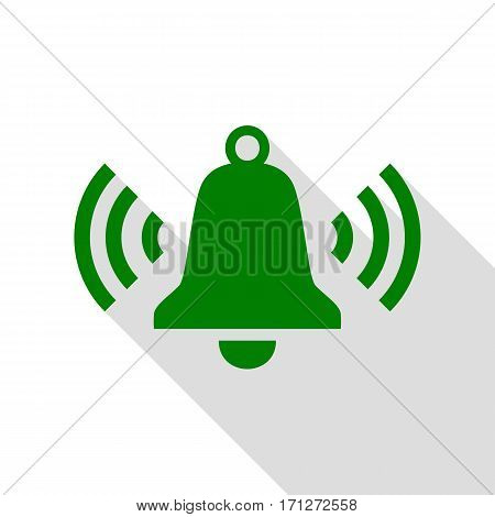 Ringing bell icon. Green icon with flat style shadow path.