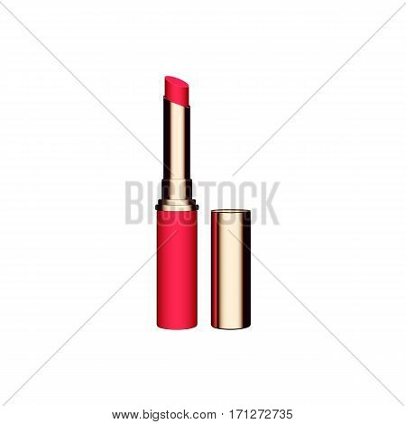 Red lipstick isolated on white background vector illustration