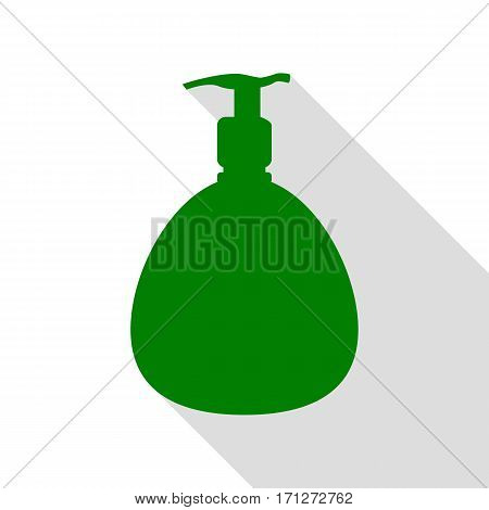 Gel, Foam Or Liquid Soap. Dispenser Pump Plastic Bottle silhouette. Green icon with flat style shadow path.