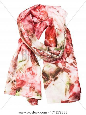 Wrapped Silk Scarf With Abstract Red Pattern