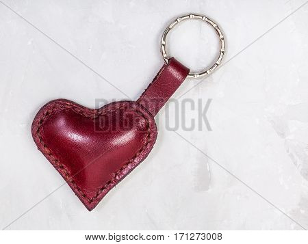 Red Leather Heart Shape Keychain