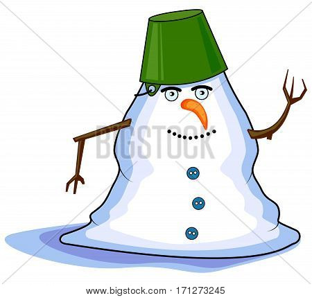 Cheerful Melting Snowman in spring, vector illustration