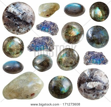 Collection Of Tumbled And Raw Labradorite Stones