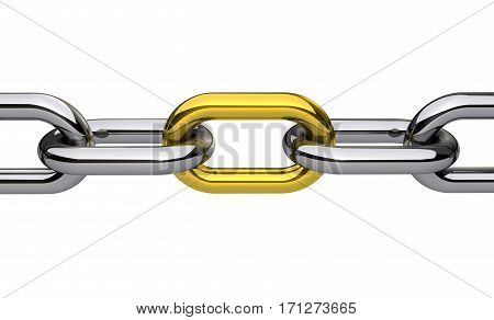 Steel chain with a gold link business collaboration and teamwork concept 3D illustration isolated on white background.