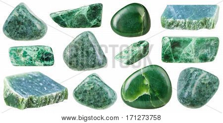 Collection Of Various Tumbled Green Jade Stones