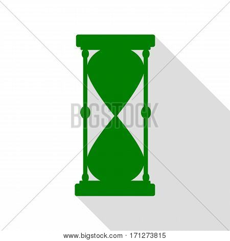 Hourglass sign illustration. Green icon with flat style shadow path.