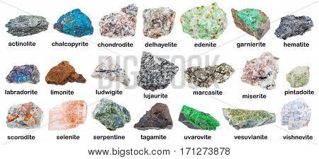 Collection Of Various Minerals With Descriptions