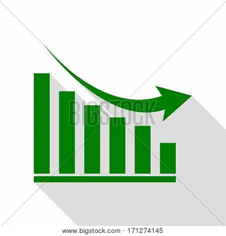 Declining graph sign. Green icon with flat style shadow path.