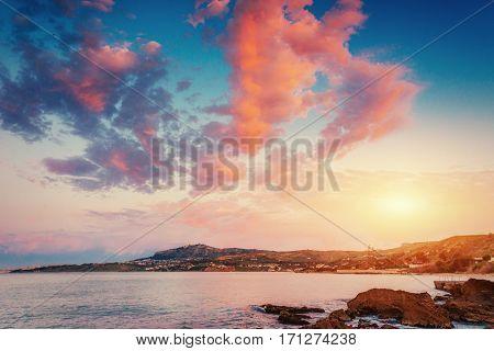 Scenic rocky coastline Cape Milazzo. Sicily, Italy