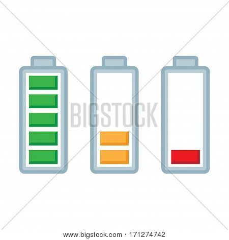 Battery load. Full half and low color levels. charge status symbols set. isolated on white background vector illustration