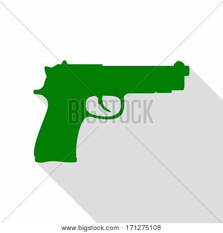 Gun sign illustration. Green icon with flat style shadow path.