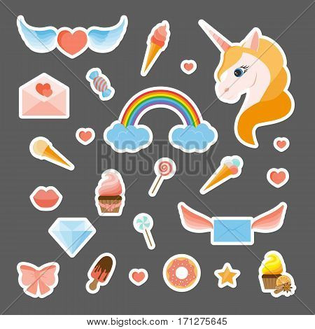 Fashion patch badges with a unicorn, rainbow, sweets, winged hearts and envelopes and other elements. Set of stickers, pins, patches in flat design style. Vector illustration on grey background.
