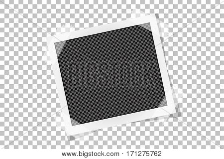 Square Frame Template On Sticky Tape With Shadows Isolated On Transparent Background. Vector Illustr