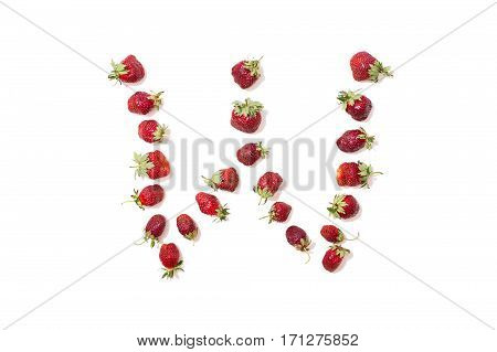 Red strawberries isolated on white background. Funny letters. English alphabet. ABC. Letter W