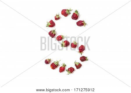 Red strawberries isolated on white background. Funny letters. English alphabet. ABC. Letter S