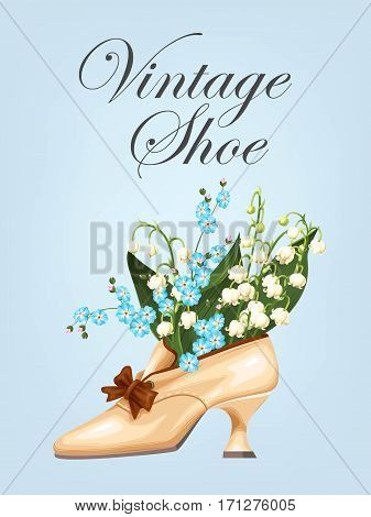 Vector illustration of vintage shoe with spring flowers
