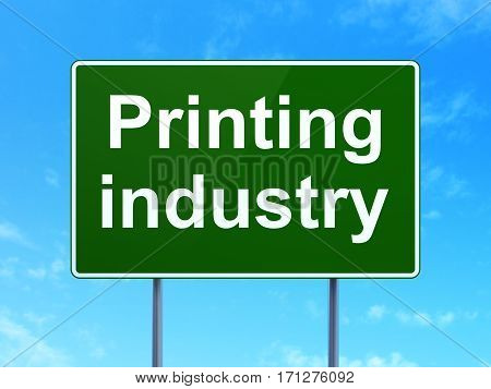 Industry concept: Printing Industry on green road highway sign, clear blue sky background, 3D rendering