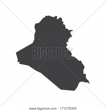 Republic of Iraq map silhouette on the white background. Vector illustration